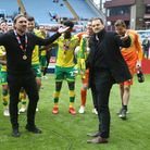 Norwich Head Coach Daniel Farke and Norwich City Sporting Director Stuart Webber with the trophy at
