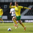 Kieran Dowell of Norwich in action during the Sky Bet Championship match at Pride Park Stadium, Derb