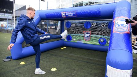 A girls football festival held at Portman Road with players from the ITFC women and Luke Woolfenden