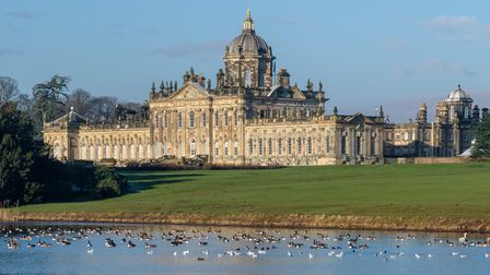 An view from the water of Castle Howard, a gorgeous stately home used in the filming of Brideshead Revisited