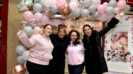Staff at the Eyelash Bar in The Romford Shopping Hall celebrate being open for business again