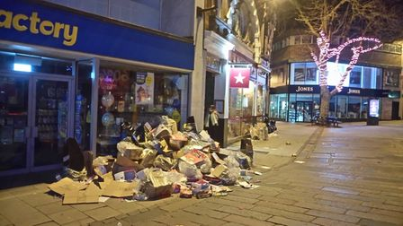 Rubbish piled up in Gentleman's Walk, Norwich, on Tuesday night.