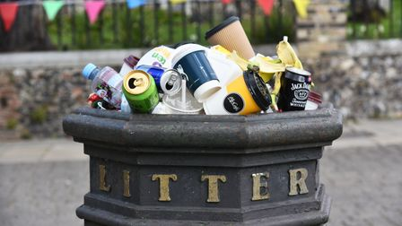Several bins around the city centre are overflowing with rubbish as people return to Norwich.
