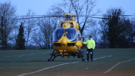 An air ambulance landed on a nearby playing field after being called to the scene in Thorpe St Andrew.