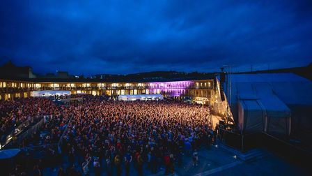 An outdoor concert at the historic Piece Hall in Halifax