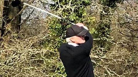 Club Captain Paul Hitchcock hitting Sidmouth's first ever shot in Dartmoor League