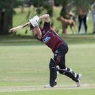 Guy Balmford of Brentwood drives through the offside during Hornchurch CC vs Brentwood CC, Essex Cri