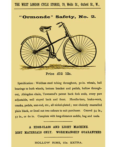 1888 advert for an Ormonde Safety No2 bicycle