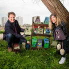 National Lottery winners, Gavin and Sylvia Smith help with the installation of nest boxes