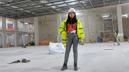 Bianca Guthrie in her construction gear on site.