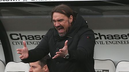 Norwich Head Coach Daniel Farke reacts during the Sky Bet Championship match at Pride Park Stadium,