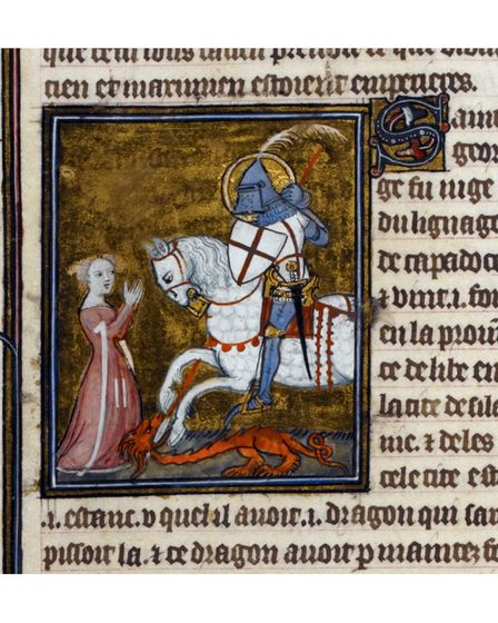 Miniature of St. George and killing the Dragon (1382)