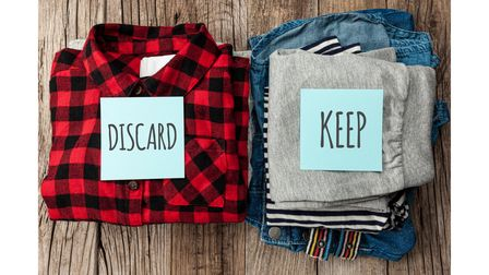 Take out your clothes and divide into four piles: keep, charity, sell, discard (recycle)