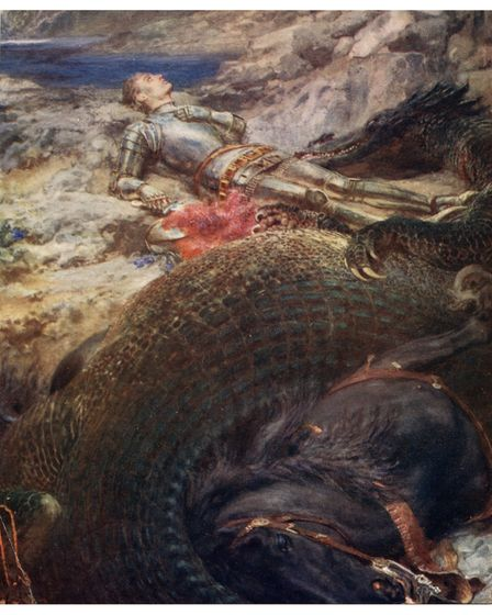 St. George and the DragonbyBriton Rivière(c. 1914), painted in theAcademicism style