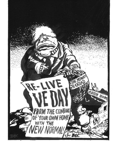 A cartoon used by Philip Zec to mark VE Day in 1945. Picture: Philip Zec