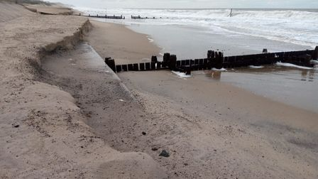 Bacton beach, showing where sand from the sandscaping project has washed out.