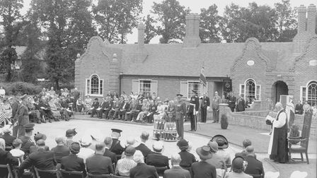 Opening ceremony of the Second World War Memorial Bungalows on Mousehold Lane, Norwich 1951