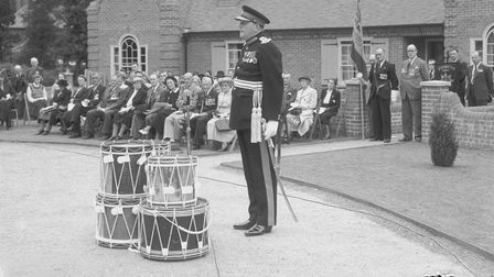 Sir Edmund Bacon gives a speech at the Second World War Memorial Bungalows on Mousehold Lane, Norwich in 1951.