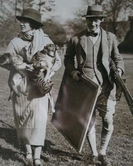 artist and his wife walking, 1920s