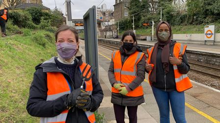 Steph, Nimoa and Nadine are helping to beautify a Hackney station.
