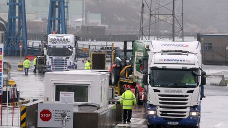 Trucks leaving Larne Port. The DUP has rejected claims it is whipping up tensions over Irish Sea tra