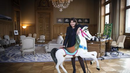 Paris' mayor Anne Hidalgo poses at her office, on March 4, 2015 at Paris' city hall. AFP PHOTO JOE