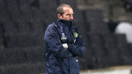Norwich U23's Lead Coach David Wright during the Papa Johns Trophy match at Stadium MK, Milton Key
