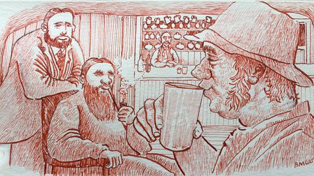 A drawing which Brian did, depicting a scene within a pub on the moor!