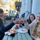 Nell Basley, Frances Davies and Maya Elphick enjoy a drink at the Sir Garnet