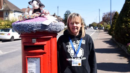 Debby Cloud from the Wool Baa arts and craft shop has decorated post boxes with colourful toppers