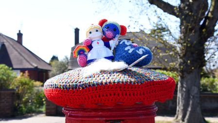 Debby Cloud from the Wool Baa has decorated post boxes in the town with colourful toppers