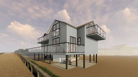 Once complete, the three-bedroom home will overlook the sea and have stunning views across Felixstowe golf course.