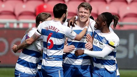 Queens Park Rangers' Rob Dickie (centre) celebrates scoring their first goal against Middlesbrough
