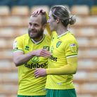 Teemu Pukki of Norwich celebrates scoring his side's 1st goal during the Sky Bet Championship matc