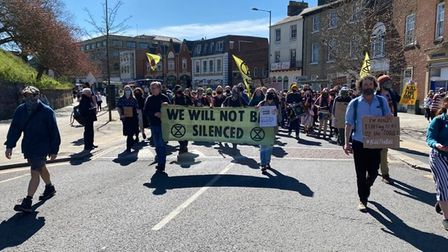 Extinction Rebellion Norwich protestors marching against the Police and Crime Bill