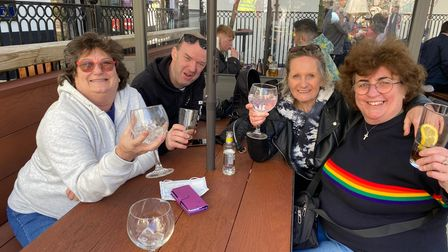 From left to right at the Bell Hotel are Liz Grimes, Mark Thompson, Toni Cavell and Vicki Corney