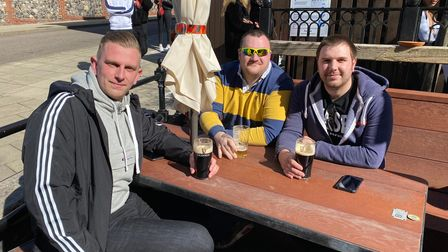 Pictured from left to right at the Bell Hotel in Norwich are Dan Shelley, Luke Bowers and Joshua Bucciferro