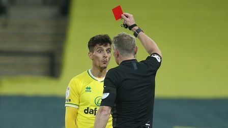 Norwich City defender Dimitris Giannoulis was red carded for a foul on Bournemouth's Ben Pearson