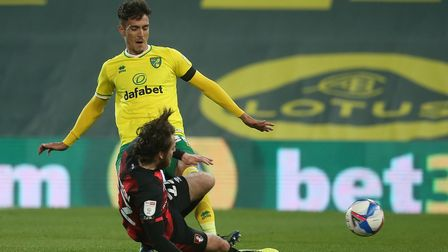 Dimitris Giannoulis was sent off for this challenge on Ben Pearson in Norwich City's 3-1 Championship defeat to Bournemouth