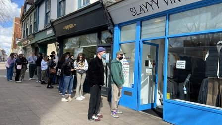 Customers queue outside Slayyy Vintage in Norwich