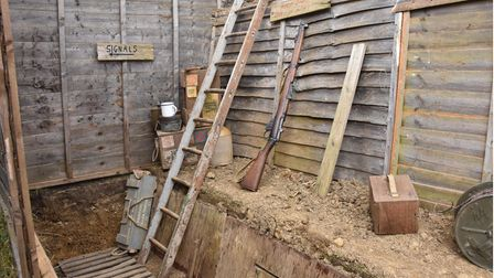 A look at Chris Richards' World War One trench dug in his family's garden in St Albans for a film project.