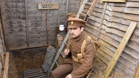 Chris Richards in the WW1 trench built in his St Albans family garden.