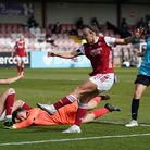 Arsenal's Caitlin Foord has a shot on goal during the Vitality Women's FA Cup fourth round match at