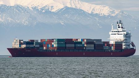 A freight vessel anchored in the Aegean Sea off the coast of Greece in April. The ship was forced to