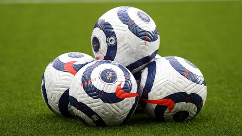 A general view of Nike branded match balls prior to the Premier League match at Old Trafford, Manche