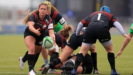Saracens' Emma Swords in action against Harlequins during the Women's Allianz Premier 15's match at the StoneX Stadium