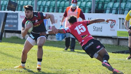Saracens' Sean Maitland scores the first try against Cornish Pirates during the Greene King IPA Championship match