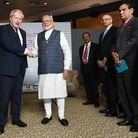 Prime Minister Boris Johnson meeting India PM Narendra Modi for bilateral talks during the G7 summit