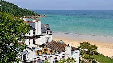 Carbis Bay Hotel & Estate overlooking its private beach