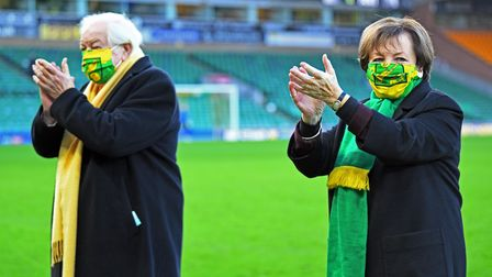 Norwich City's Joint Majority Shareholders Delia Smith and Michael Wynn-Jones before the Sky Bet Cha